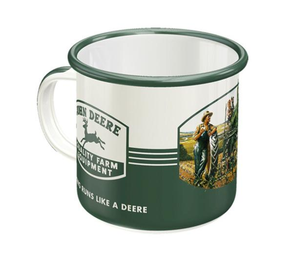 "Tasse émaillée John Deere ""Quality Farm Equipment"""